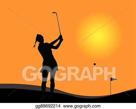 Clip Art Vector Woman Golf Player Stock Eps Gg88692214 Gograph