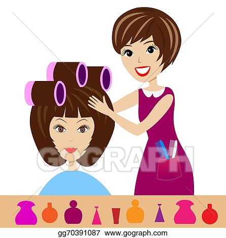 Vector Clipart Woman In A Beauty Salon Vector Illustration Gg70391087 Gograph