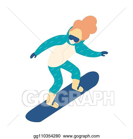 Clip Art Vector Woman In Snow Suit Snowboarding Female Snowboarder With Long Hair Winter Extreme Sports And Recreational Activity Cute Cartoon Character Isolated On White Background Flat Vector Illustration Stock Eps