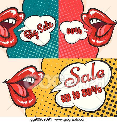Vector Art Woman Lips Pop Art Sale Banners Clipart Drawing Gg90909091 Gograph