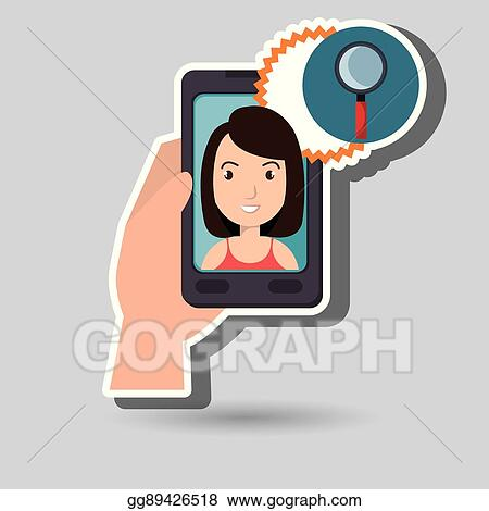 clip art vector woman on the screeen of a smarthone vector design