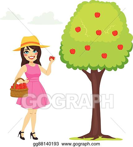 clip art vector woman picking apple stock eps gg88140193 gograph rh gograph com Clip Art of Apple's Apple Orchard Clip Art