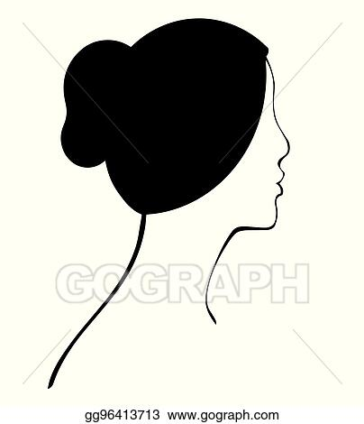 Vector Art Woman Profile With Hair Bun Vector Clipart Drawing