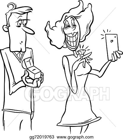 Woman Proposal Selfie Coloring Page
