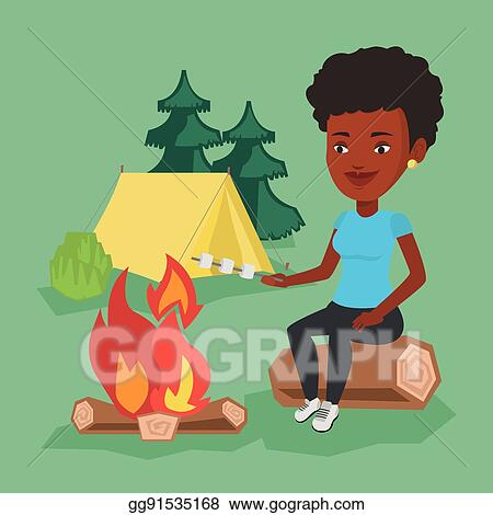 Woman Roasting Marshmallow Over Campfire