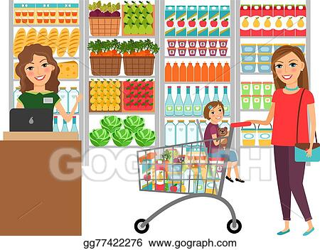 vector art woman shopping in grocery store clipart drawing rh gograph com grocery store clipart free grocery store clipart images