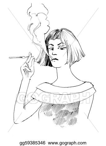 drawing woman smoking a cigarette clipart drawing gg59385346 gograph. Black Bedroom Furniture Sets. Home Design Ideas