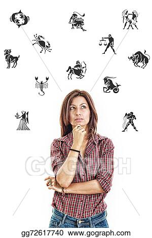 Stock Photo Woman Surrounded With Zodiac Signs Thoughtfully