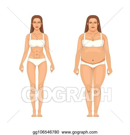 Eps Vector Woman Weight Loss With Sport And Diet Vector Illustrations In Cartoon Style Stock Clipart Illustration Gg106546780 Gograph