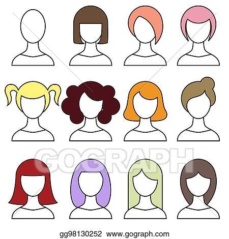 Vector Art Women Hairstyles Set Girl Haircut Avatar Vector
