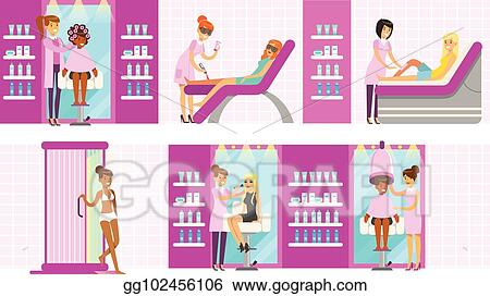 Vector Art Women In Beauty Salon Enjoying Hair And Skincare Treatments And Cosmetic Procedures With Professional Cosmetologists Eps Clipart Gg102456106 Gograph