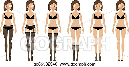c0efceb814 Vector Art - Women in different types of lingerie. EPS clipart ...