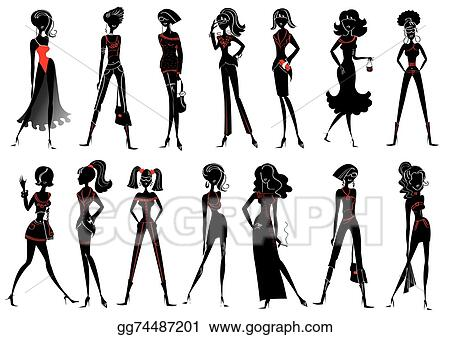 Vector Stock Women In Fashion Clothes For Design On White Clipart Illustration Gg74487201 Gograph