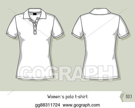 vector clipart women polo t shirt template for design easily