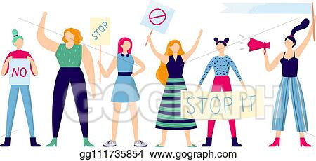 35f6695c63 Women protesters. Female group protest, strong woman holding feminism  placard and women rights manifestation flat vector illustration