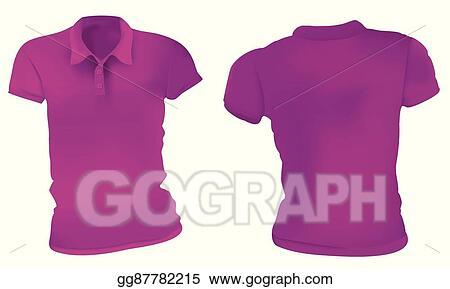 5c7e75ec2 Vector Art - Women purple polo shirts template. EPS clipart ...