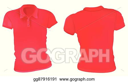 cfe89cccc797 Vector Stock - Women red polo shirts template. Stock Clip Art ...