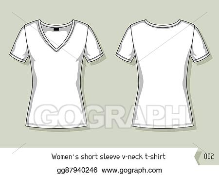 Women Short Sleeve V Neck T Shirt Template For Design Easily Editable By Layers