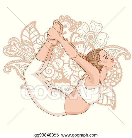 vector stock  women silhouette bow yoga pose