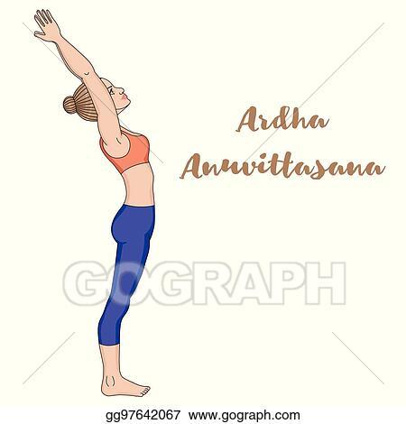 clip art vector  women silhouette standing backbend yoga