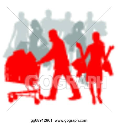 Man with a shopping cart. stock illustration. Illustration of push -  28905027