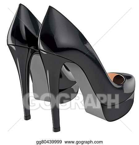 Drawing Women S Black Patent Leather Shoes On High Heels Clipart