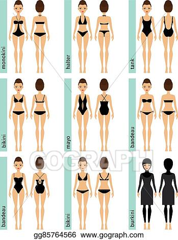 ee191b9254 EPS Illustration - Womens swimsuit types vector illustrations ...