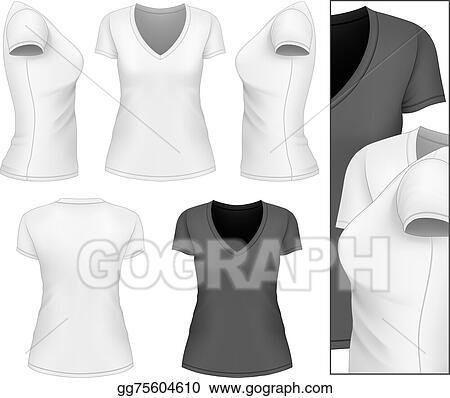 Vector Stock - Women\'s v-neck t-shirt. Stock Clip Art gg75604610 ...