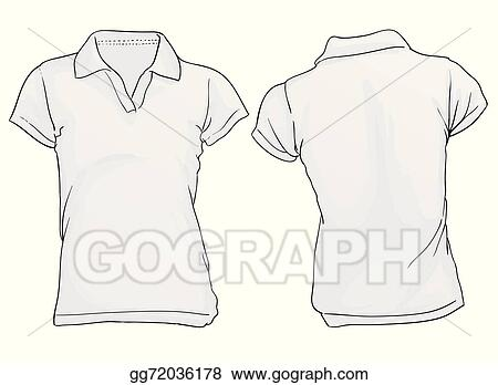Vector Art Women S White Polo Shirt Template Clipart Drawing