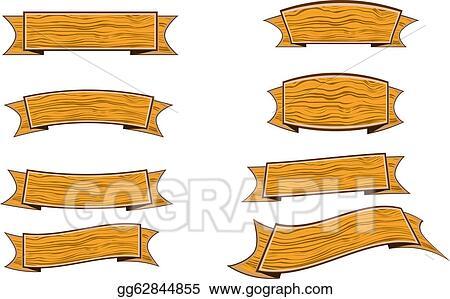 Wood banner. Vector clipart illustration gg