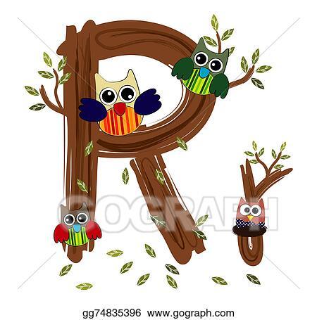 Clip Art - Wood letter r owl vector. Stock Illustration ...