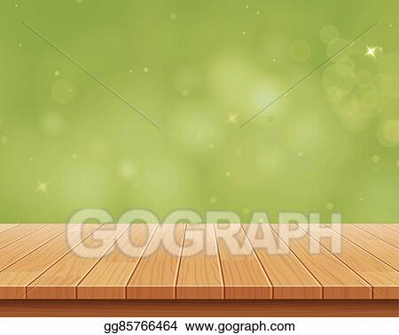 table top background. Wood Table Top On Green Bokeh Vector Abstract Background
