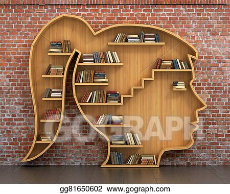 Wooden Bookshelf Full Of Books In Form Woman Head On A Bricks Background