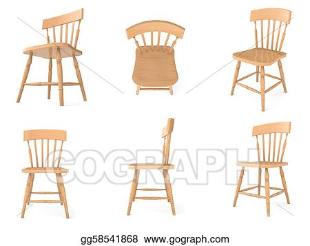Drawing Wooden chairs in different angles Clipart Drawing