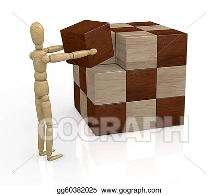 Drawing - Wooden cube puzzle  Clipart Drawing gg60382025
