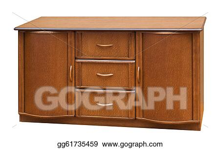 Clipart wooden old stile bureau. isolated on white. stock