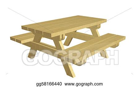 Clipart - Wooden picnic table, 3d illustration. Stock ...