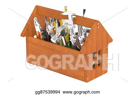 Drawing Wooden Toolbox With Tools 3d Rendering Clipart Drawing