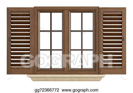 Stock Illustration - Wooden window on white. Clipart ...