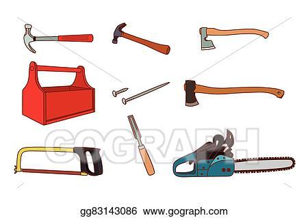 Vector Clipart Woodworking Tools Set Vector Illustration