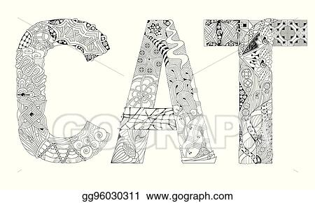 Vector Art Word Cat For Coloring Vector Decorative Zentangle