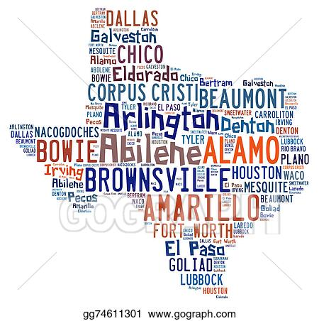 stock illustration word cloud showing the cities in texas clipart