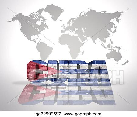 Stock Illustration - Word cuba on a world map background ...