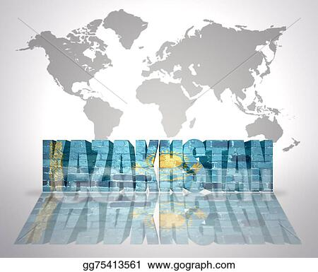 Drawing Word Kazakhstan On A World Map Background Clipart Drawing