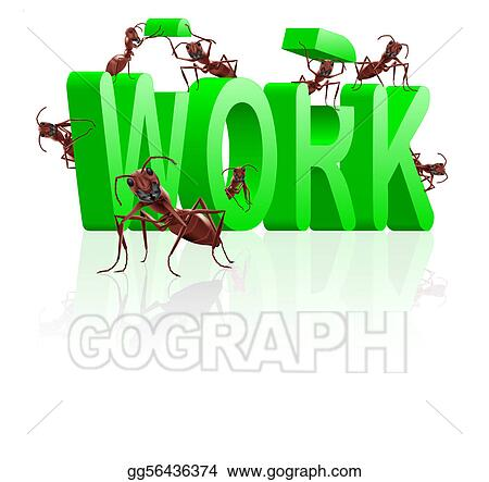 Stock Illustration Work Ants Working On Career Clipart Drawing