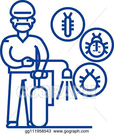Clip Art Vector - Worker, bug destroyer line icon concept