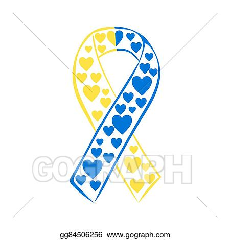 Vector Stock World Down Syndrome Day Yellow Blue Ribbon Clipart