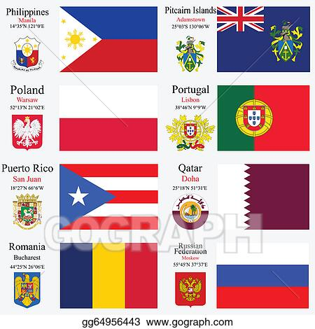 EPS Vector - World flags and capitals set 19  Stock Clipart