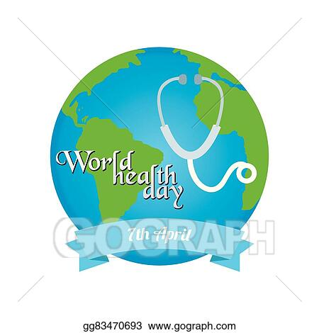 world health day. cartoon earth. Clipart Image
