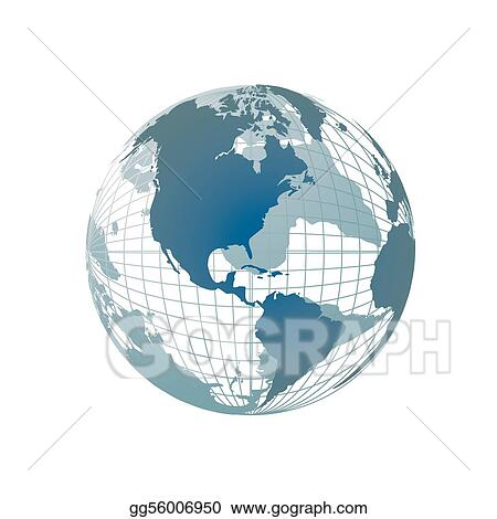 Vector Art World Map D Globe Clipart Drawing Gg GoGraph - Globe world map